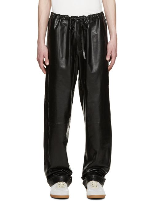 Loewe | Серый Black Leather Trousers