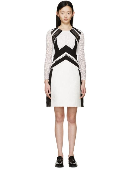 Burberry Prorsum | Женское Белый White And Black Patchwork Lace Dress