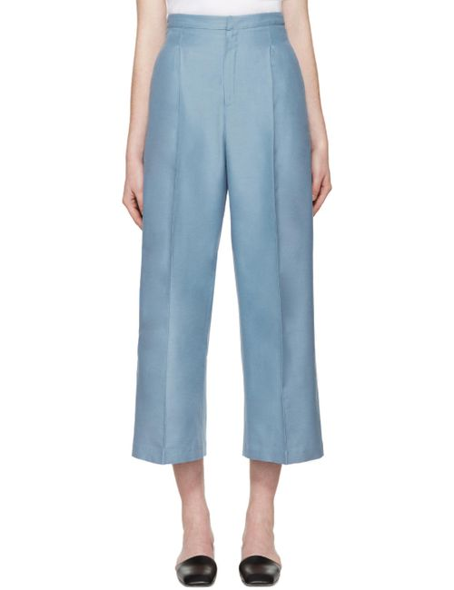 Ports | Синий 1961 Blue Silk Cropped Trousers
