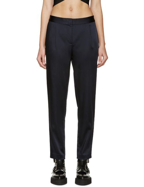 T By Alexander Wang | 404 Marine Navy Stretch Satin Trousers