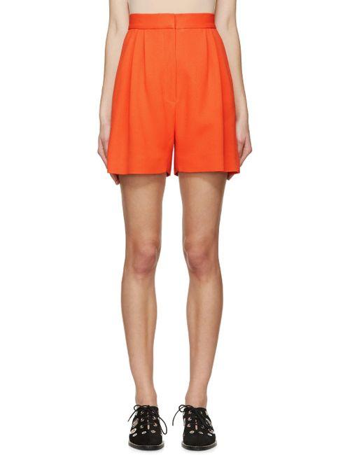 Mary Katrantzou | Orange Pleated High-Rise Shorts