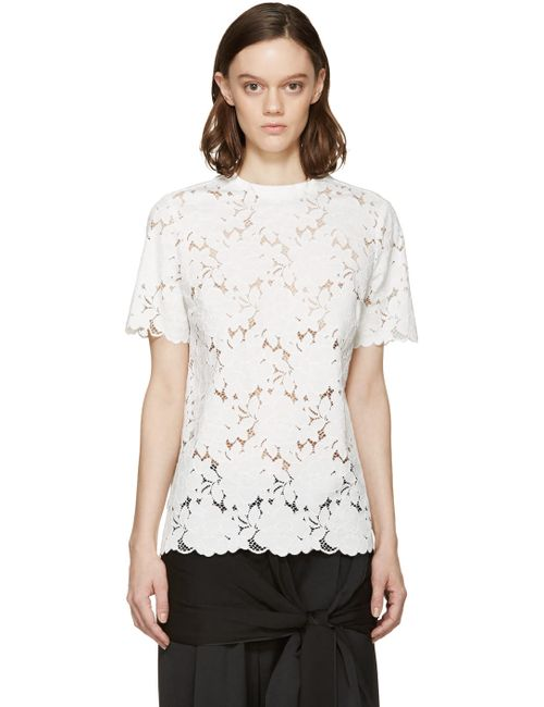 Lanvin | Белый White Floral Lace Blouse