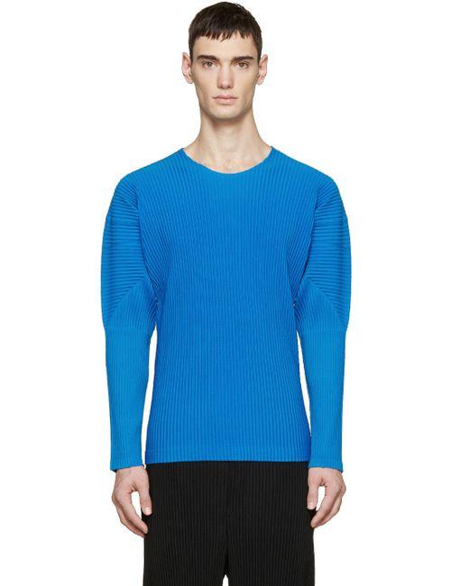 HOMME PLISSE ISSEY MIYAKE   Синий Blue Pleated Pullover