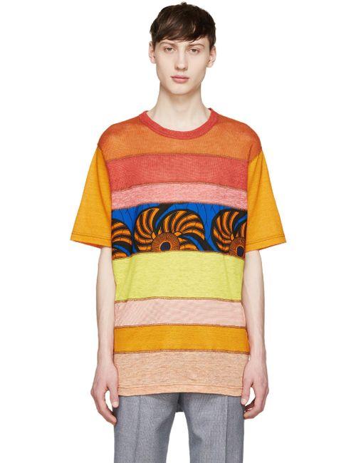 Junya Watanabe | Оранжевый Red And Orange Mesh Panel T-Shirt