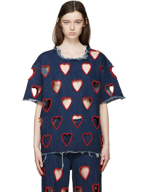 Ashish | Dark Denim Indigo Denim Cut Out Heart T-Shirt