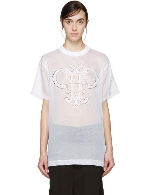 Emilio Pucci | 090 Bianco White Organza Logo T-Shirt