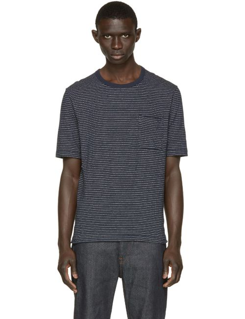 Nanamica | N - Navy Navy Dotted Stripe T-Shirt