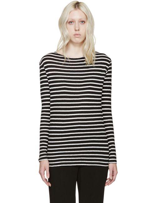 R13 | Чёрный Black And White Boatneck T-Shirt