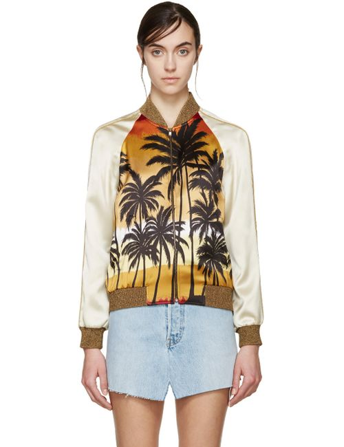 Saint Laurent | 5568 Print Multicolor Palm Tree Bomber Jacket