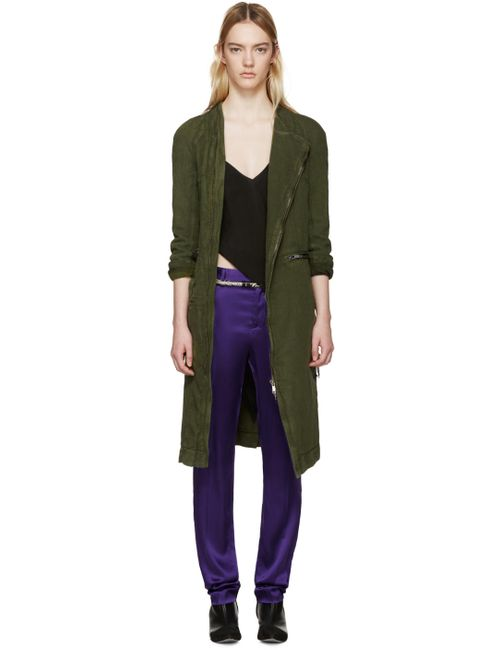 Haider Ackermann | 047 Poison Green Linen Nakhu Trench Coat