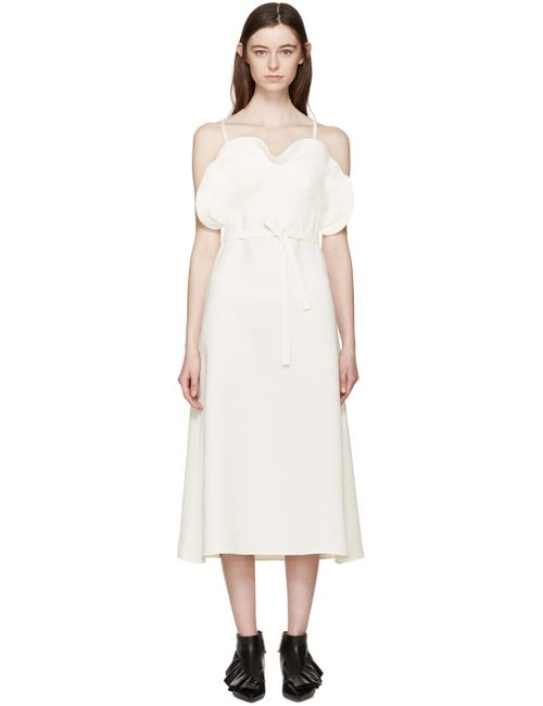 J.W. Anderson | Белый J.W.Anderson Ecru Crepe Ruffled Dress