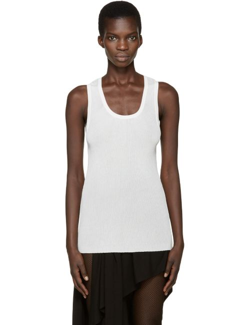 Anthony Vaccarello | Белый Cream Ribbed Tank Top