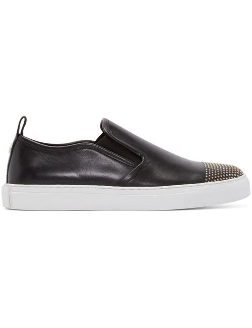 Mcq Alexander Mcqueen | Чёрный Black Leather Studded Slip-On Sneakers