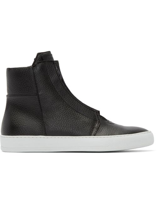 Helmut Lang | Чёрный Black Leather High-Top Sneakers