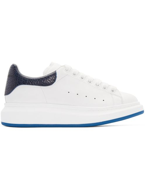 Alexander McQueen | Белый White And Navy Embossed Sneakers