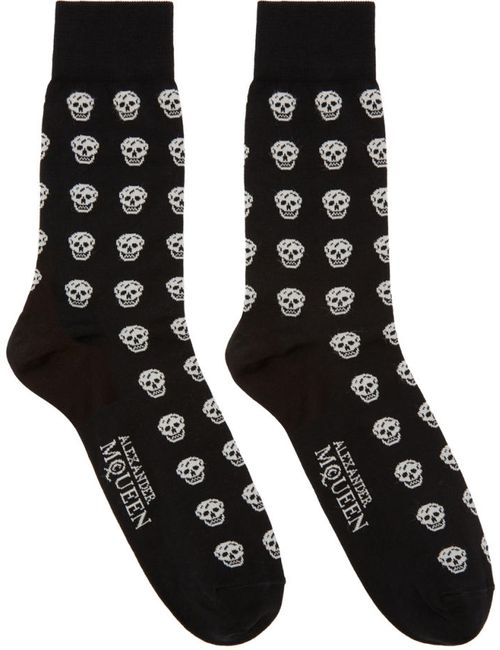 Alexander McQueen | Чёрный Black And White Skulls Socks