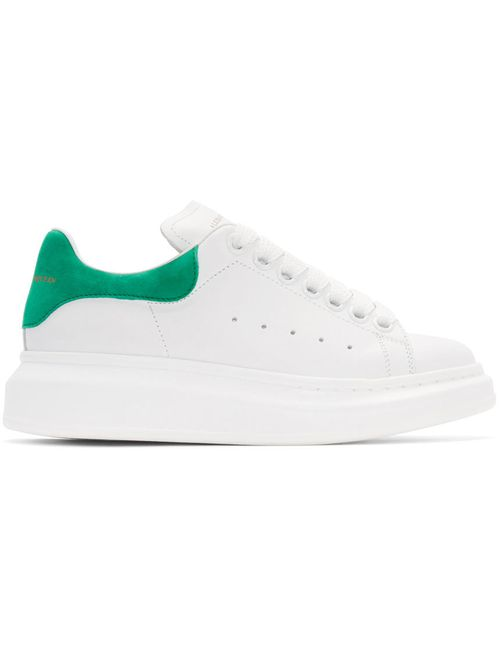 Alexander McQueen | Белый White And Green Leather Sneakers