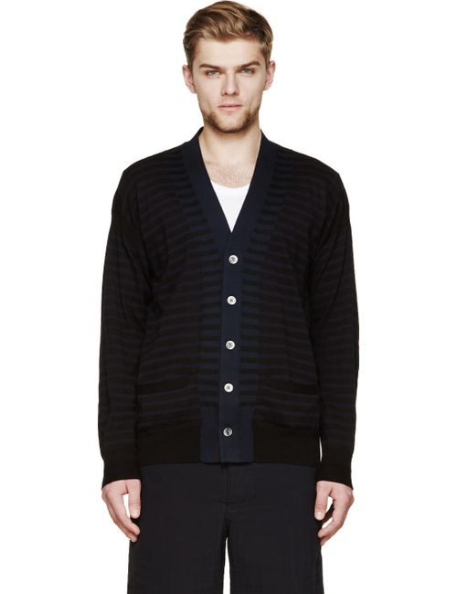 Sacai | Чёрный Black And Blue Striped Cardigan
