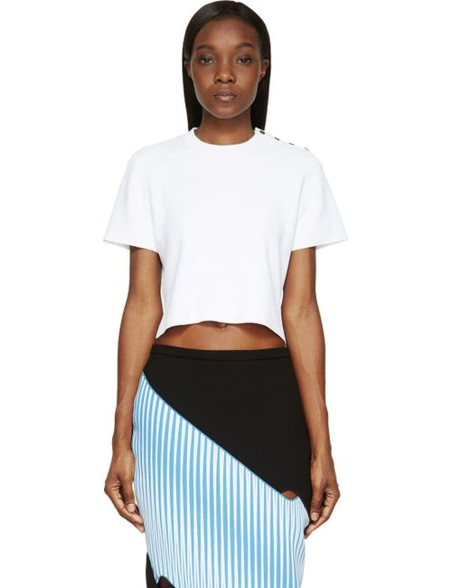 Proenza Schouler | Белый White Knit Cropped And Buttoned T-Shirt