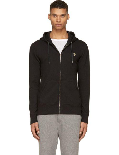 Paul Smith Jeans | Чёрный Black Zip-Up Hooded Zebra Patch Sweatshirt