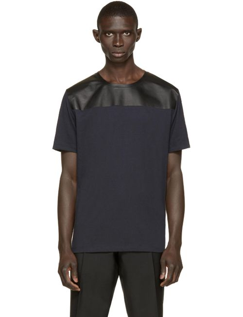 Valentino | Мужское Чёрный Navy And Black Leather-Trimmed T-Shirt