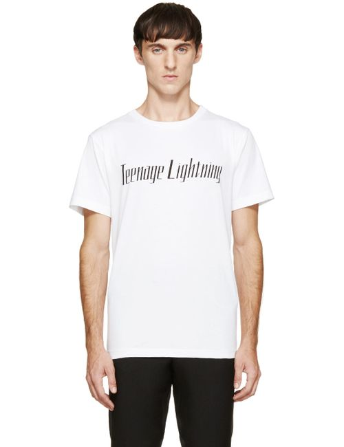 Yang Li | Мужское Белый White Teenage Lightning T-Shirt