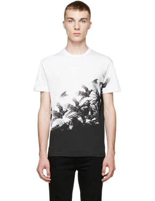 Dsquared2 | Мужское Белый White Tropical Bird T-Shirt
