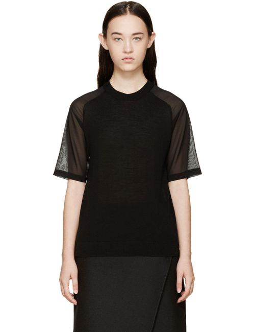 3.1 Phillip Lim | Чёрный Knit And Silk T-Shirt