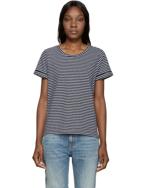 A.P.C. | Iak Dark Navy Navy And White Striped Linen T-Shirt