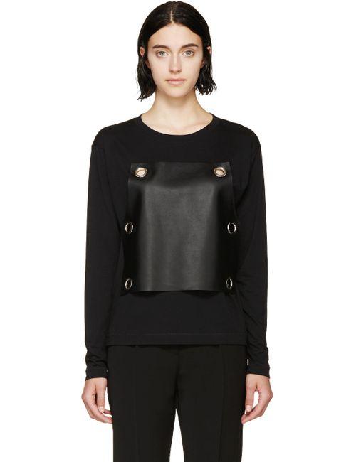 MM6 by Maison Margiela | Чёрный Mm6 Maison Margiela Black Leather Panel T-Shirt
