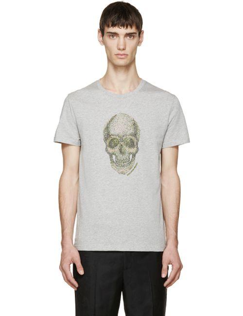Alexander McQueen | Мужское Серый Grey Embroidered Skull T-Shirt