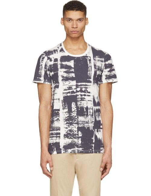 ROBERT GELLER | Мужское Белый Indigo And White Brush Print Shirt