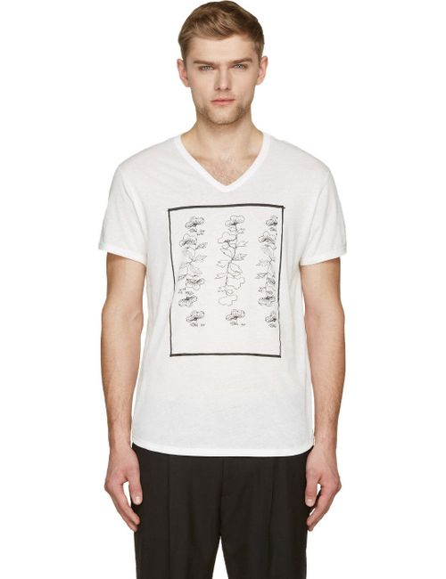 Ann Demeulemeester | Мужское Чёрный White And Black Floral Tableau T-Shirt