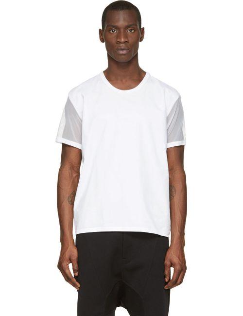 Denis Gagnon   Мужское Белый Mesh-Sleeved T-Shirt