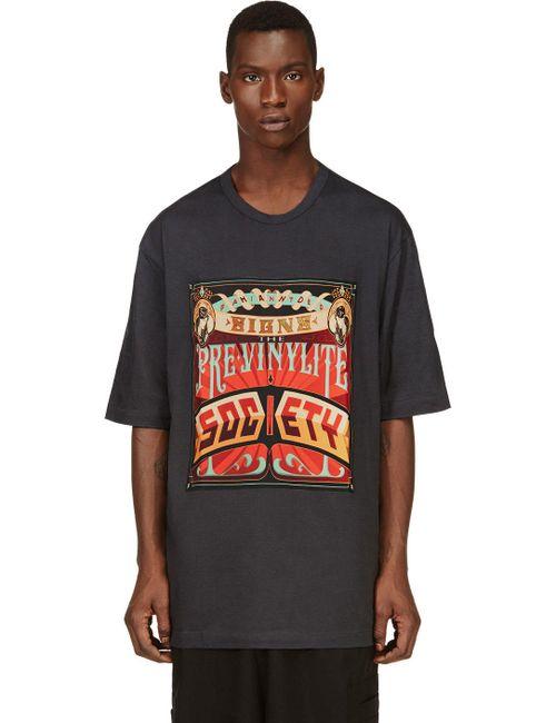 JUUN.J | Мужское Серый And Orange Oversize Society T-Shirt