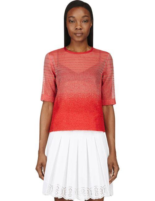 Ostwald Helgason   Красный Organza Gradient Bouclé T-Shirt