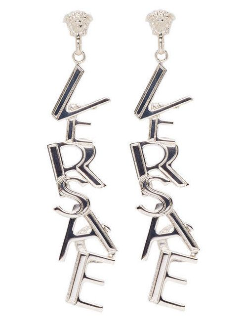 Versace | D00oc Oro Chiaro Silver Logo Earrings