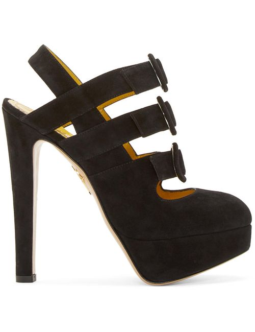 Charlotte Olympia | Чёрный Black Suede Lyvia Heels
