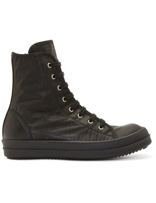 RICK OWENS DRKSHDW | Чёрный Black Coated Nylon High-Top Sneakers