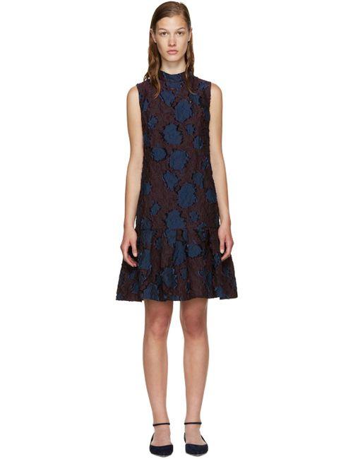 Erdem | Burgundy And Navy Nena Dress