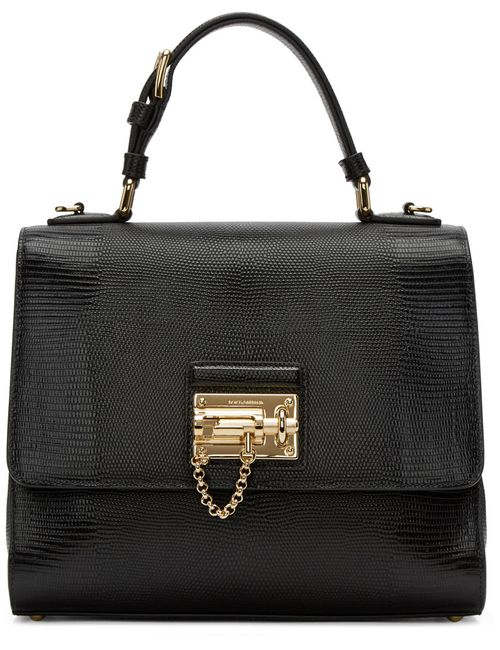 Dolce & Gabbana | Чёрный Dolce And Gabbana Black Iguana-Embossed Monica Bag