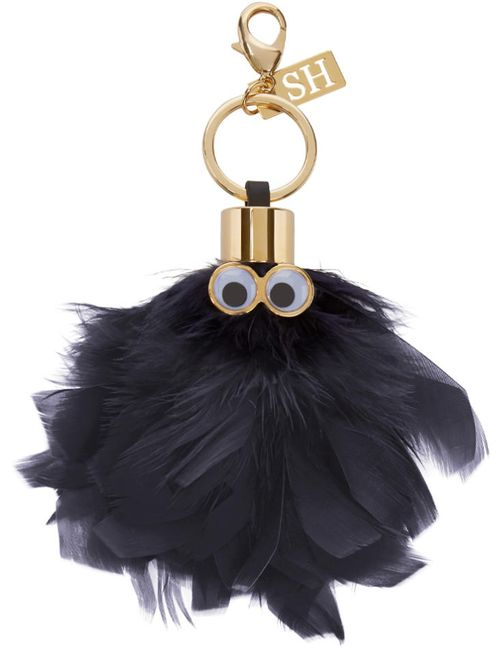 Sophie Hulme | Charcoal Black Feather Sam Keyring