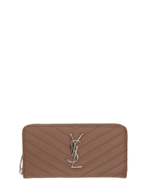 Saint Laurent | Brown Quilted Monogram Wallet