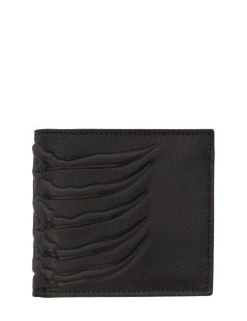 Alexander McQueen | Чёрный Black Leather Rib Cage Wallet