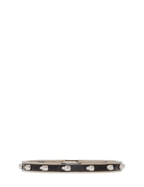 Alexander McQueen | Чёрный Black And Silver 3d Skull Bracelet