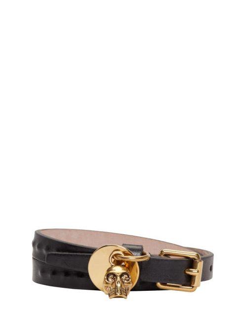 Alexander McQueen | Чёрный Black Leather Skull Charm Bracelet