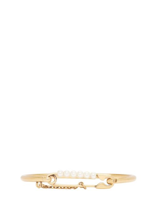 Marc Jacobs | 117 Cream & #47; Antique Go Gold And Pearl Safety Pin Hinge Cuff