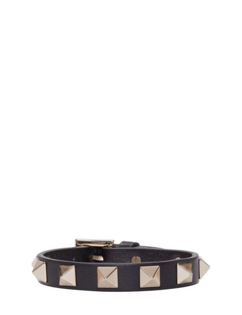 Valentino | Чёрный Black Leather Rockstud Bracelet