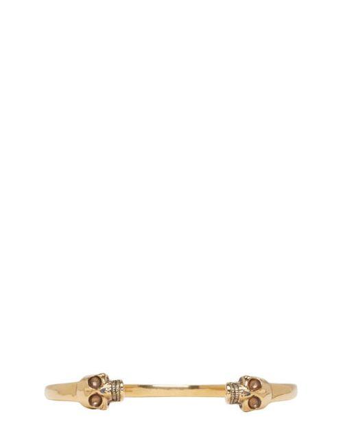 Alexander McQueen   Золотой Gold Twin Skull Cuff