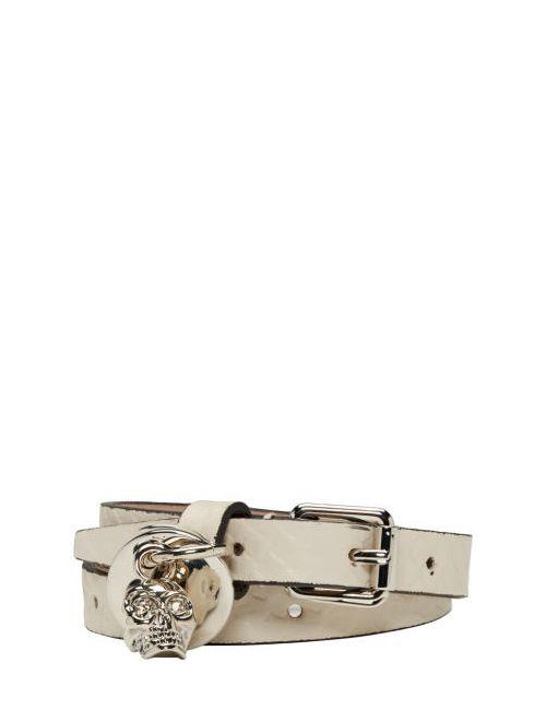 Alexander McQueen   9925 Oyster White Snake-Embossed Double Wrap Bracelet